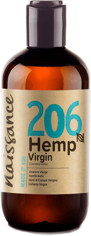Naissance Aceite Vegetal de Semillas de Cáñamo n. º 206-250ml - 100% puro, prensado en frío, virgen, vegano y no OGM