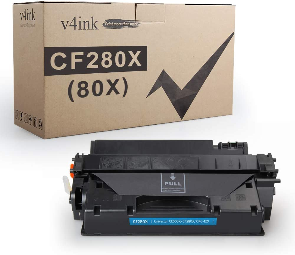 V4INK Compatible Toner Cartridge Replacement for HP 80X CF280X 80A CF280A Toner Black Ink High Yield for HP LaserJet Pro 400 M401 M401a M401d M401dn M401dne M401dw M401n MFP M425dn M425dw Printer