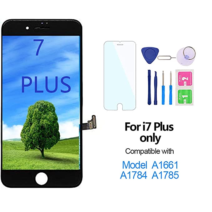 Nroech for iPhone 7 Plus (Black) Screen Replacement 5 5'', for A1661,  A1784, A1785, A178 LCD Display 3D LCD Touch Digitizer Full Assembly with  Repair