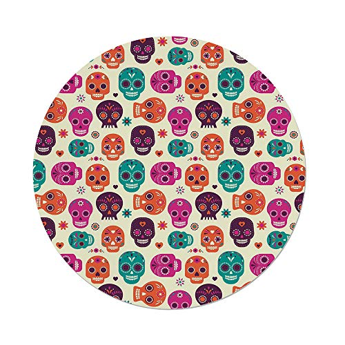 nd Tablecloth,Sugar Skull Decor,Cute Colorful Skull Silhouettes Hearts Flowers Carnival Celebration Decorative,Multicolor,Dining Room Kitchen Picnic Table Cloth Cover Outdoor Ind ()
