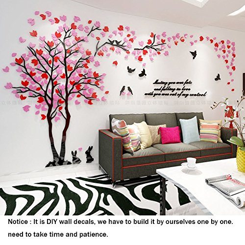 Double Tree Wall Mural Decals for Bedroom Living Room DIY Tree 3D Wall Stickers for TV Sofa Backdrop Setting Wall for Home Decor Wall Decor-Hight 59inch (Medium 2.9×1.5, Red+Pink)