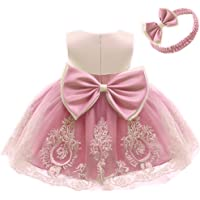 TUIJI 0-6T Big Bowknot Toddler Baby Girls Formal Dresses Pageant Party Lace Embroidery Dress with Headwear