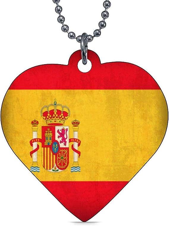 Rfy9u7 - Etiquetas de identificación para mascotas personalizadas para perros y gatos, diseño de bandera de España, de doble cara, con corazón de acero inoxidable (33 mm x 38 mm): Amazon.es: Productos