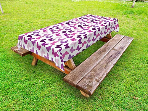 Ambesonne Butterfly Outdoor Tablecloth, Abstract Retro Butterfly Silhouettes Floral Springtime Girls Theme Image, Decorative Washable Picnic Table Cloth, 58