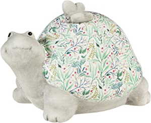 Cypress Home Ceramic Turtle with Floral Shell Tabletop Decoration - 6 x 4 x 4 Inches