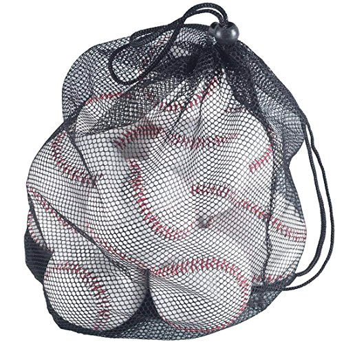 Tebery 12 Pack Unmarked Standard Size Baseballs with Mesh Bag by Tebery