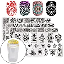 BORN PRETTY Nail Art Stamp Stamping Templates Stamper Scraper Kit- 4 Manicure Plates Set with 1 Polish Stamper by Salon Designs