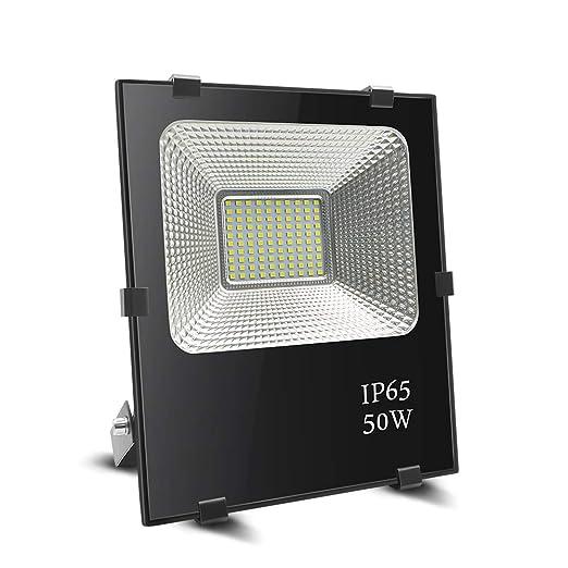 Foco led 50w, BeiLan LED Foco proyector exterior Super brillante 100 LED 6000K Luz de inundación IP65 Resistente al agua para el jardín Jardín Patio ...