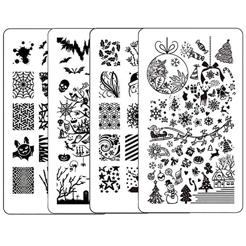 Konad Stamping Halloween (Ejiubas Nail Stamping Kit Stamping Plates Christmas Nail Art Plates Manicure Nail Stamping Plate Halloween Nail Stamping Template Double Sided 2 Counts 4)