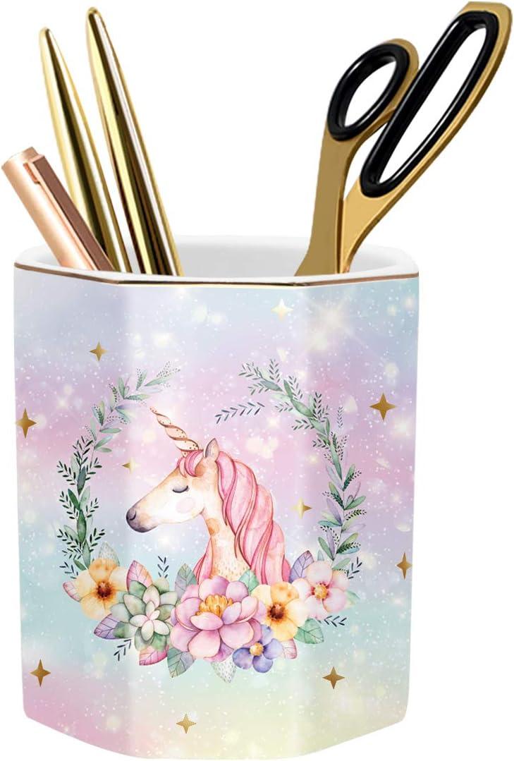 WAVEYU Pen Holder for Desk, Cute Pencil Holder Desk Decor for Teen-Girls Kids Durable Ceramic Multi-Purposed Desk Organizer Makeup Brush Holder for Office, Classroom, Home, Cute Unicorn