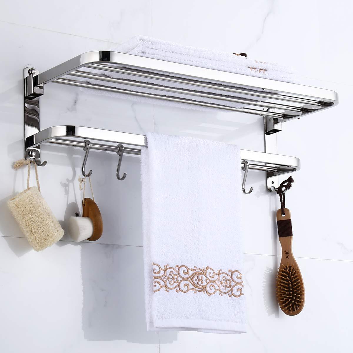 BOCCA Bathroom Towel Rack, 304 Stainless Steel Double Layers Foldable Rail Wall Mounted Towel Shelf Bar with Hooks