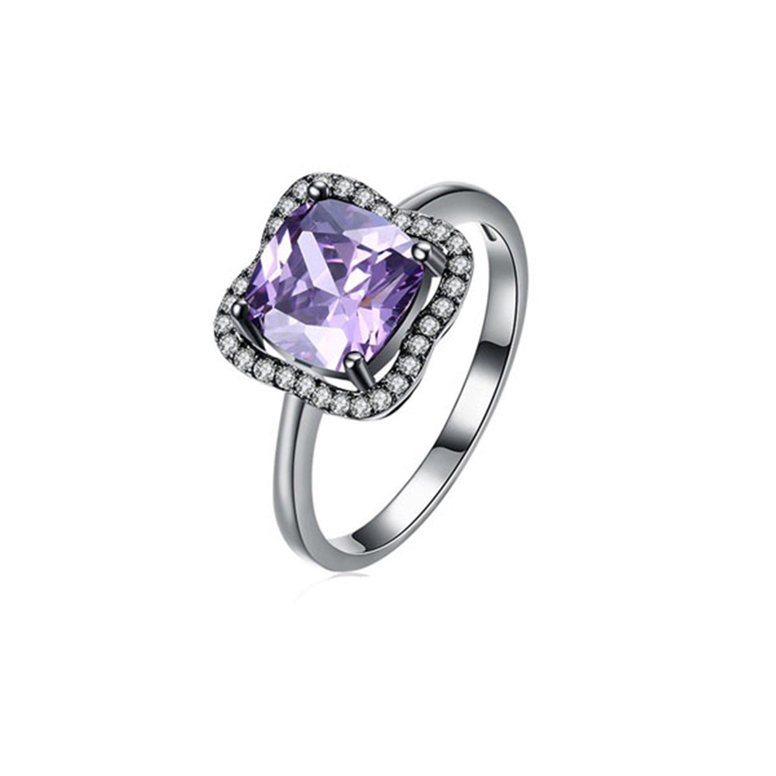 MoAndy Gunmental Plated Ring For Women Cubic Zirconia Flower Shape Purple Size 8