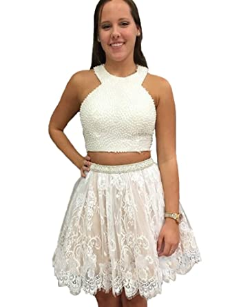 Baijinbai Two Piece Crew Pear Lace Short White Homecoming Prom Dress with Appliques White UK14