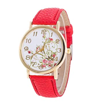Reloj de pulsera analógico para mujer con correa de piel sintética ...