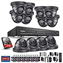 SANNCE 16 CH Full-HD 1080P DVR Video Security System and (12) 2.0 MP (1920TVL) Outdoor Night Vision Weatherproof Dome Cameras, Smartphone& PC Easy Remote Access, 2TB Surveillance HDD Included