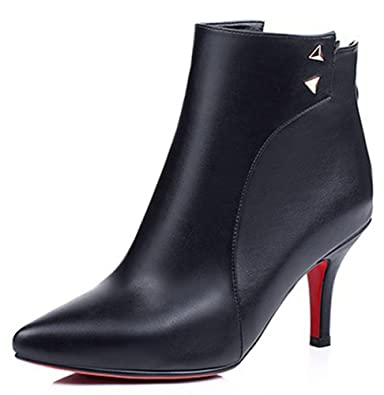 Women's Elegant Studded Mid Block Heels Ankle Boots Side Zip Up Pointed Toe Short Booties