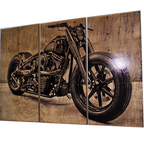 Harley Davidson Fatboy/Softail / Motorcycle/Bike Print Wood Painting/Wall Art on Stained Solid BIRCH wood. Gift for Him/Her