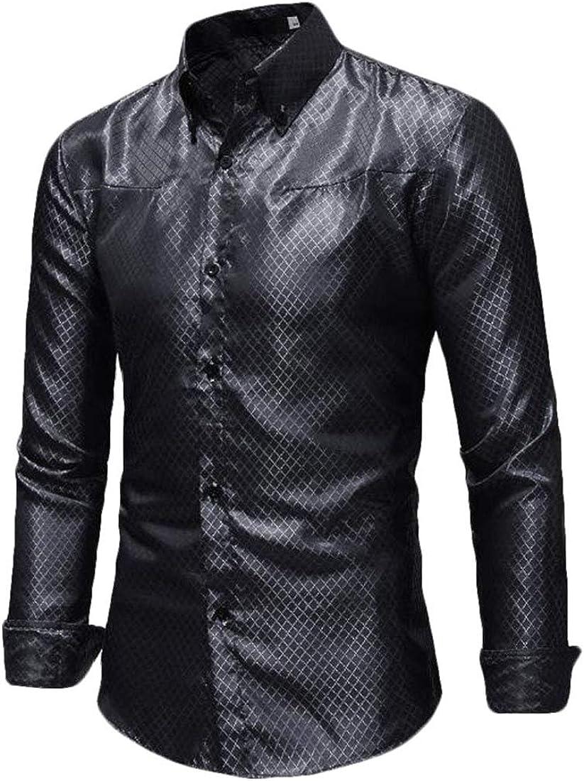 ARTFFEL Mens Long Sleeve Button Front Slim Workwear Casual Shirts