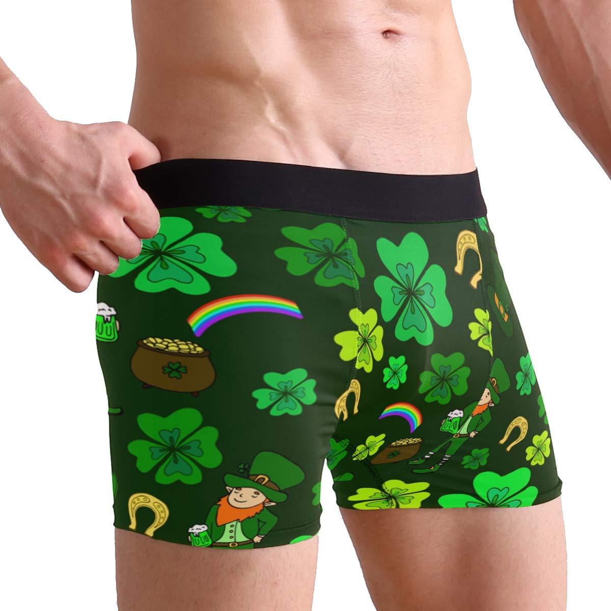 St Patricks Day Leprechaun with Clover Boxer Briefs Mens Underwear Pack Seamless Comfort Soft