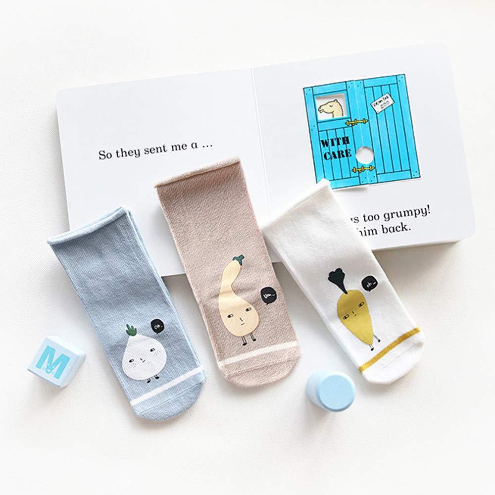 Juner 3 Pairs 1-3 Year-old Baby Boy Girl Cartoon Animals Anti-Slip Socks Soft Warm Hosiery