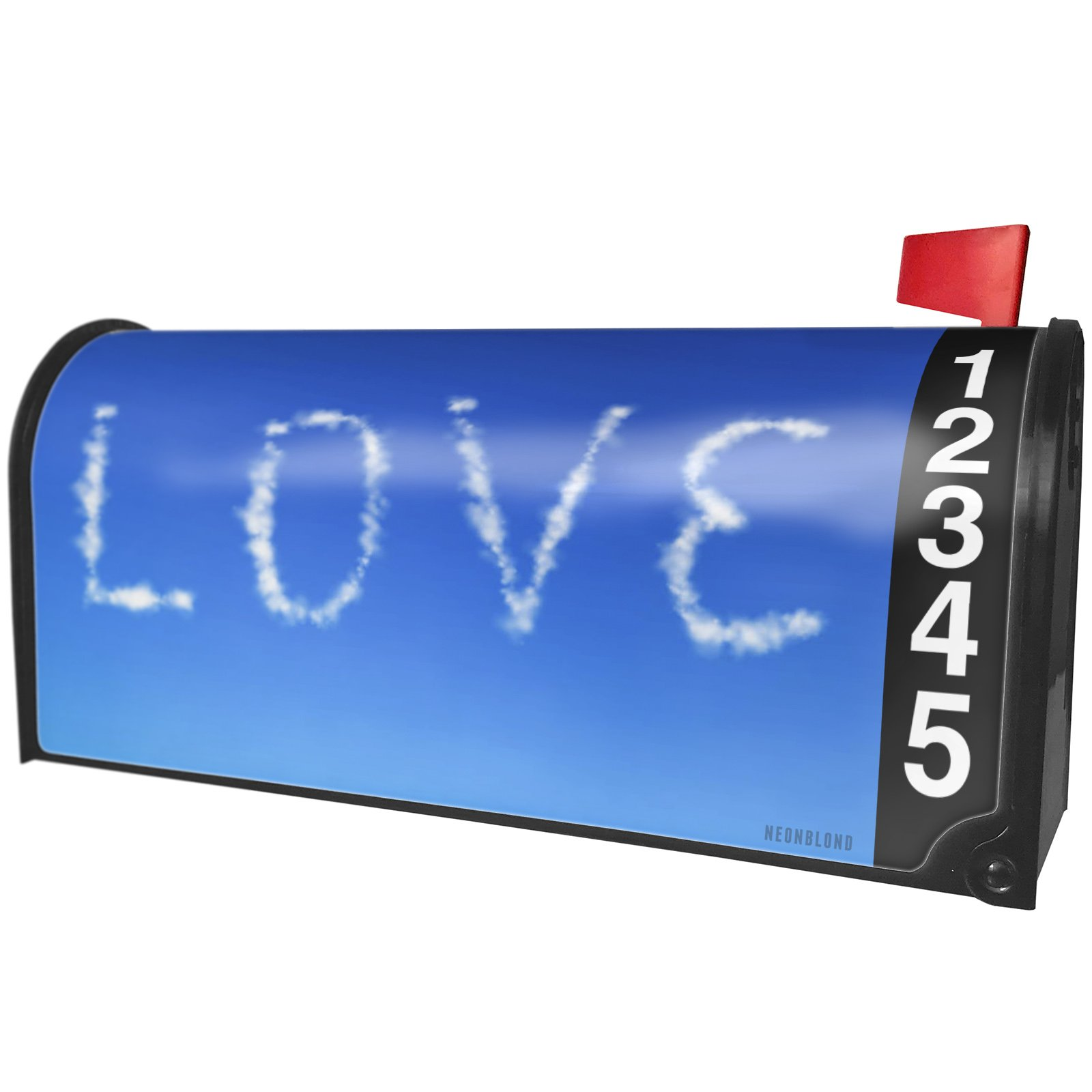 NEONBLOND Love Clouds Fresh Air Magnetic Mailbox Cover Custom Numbers