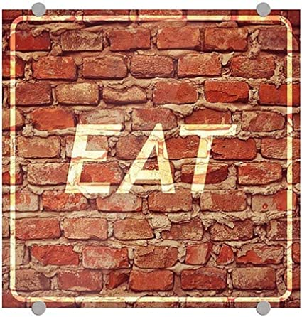 16x16 CGSignLab Ghost Aged Brick Premium Brushed Aluminum Sign 5-Pack Eat