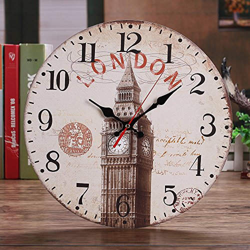 - Clock Vintage Style Not Ticking Silent Antique Wood Wall Clock for Home Kitchen Office House Garden Kitchen Accessories Clocks Alarm Electronic Clock