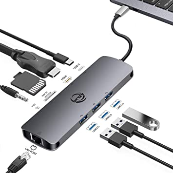 USB C Hub MECO 7 in 1 Type C to HDMI Adapter with Ethernet Port