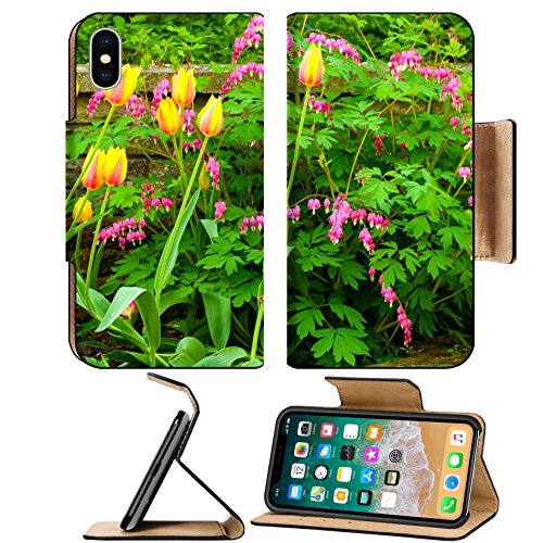 MSD Premium Apple iPhone X Flip Pu Leather Wallet Case A pretty cluster of Blushing Beauty tulips and bleeding hearts growing in front of a IMAGE (Front Cluster)