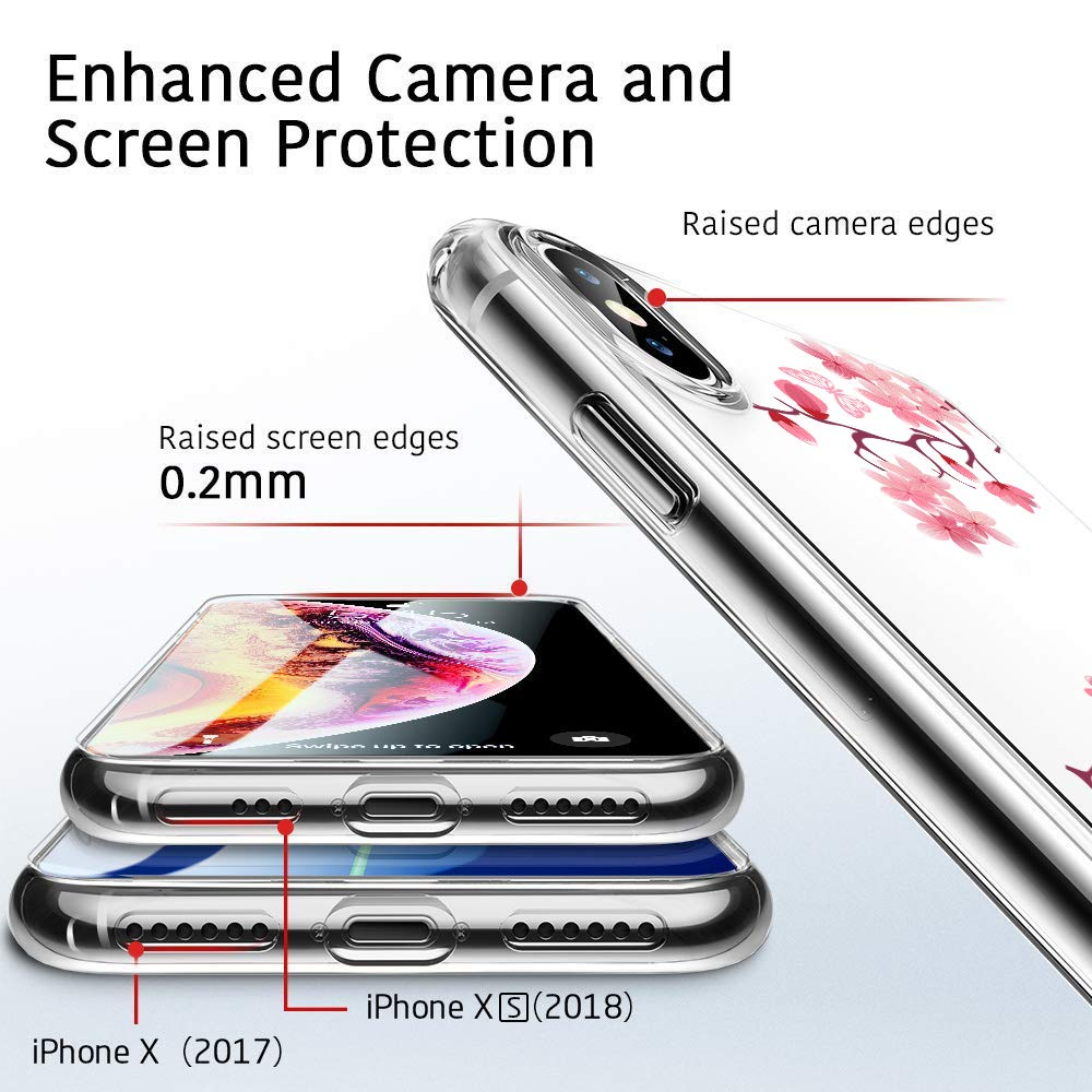 Riyeri H/ülle Compatible with Apple iPhone Xr H/ülle Cover iPhone Xs Handyh/ülle Schutzh/ülle Transparent Blume Muster Weich TPU Silikon Case f/ür Apple iPhone Xs Max Mobile Phone iPhone X, 24