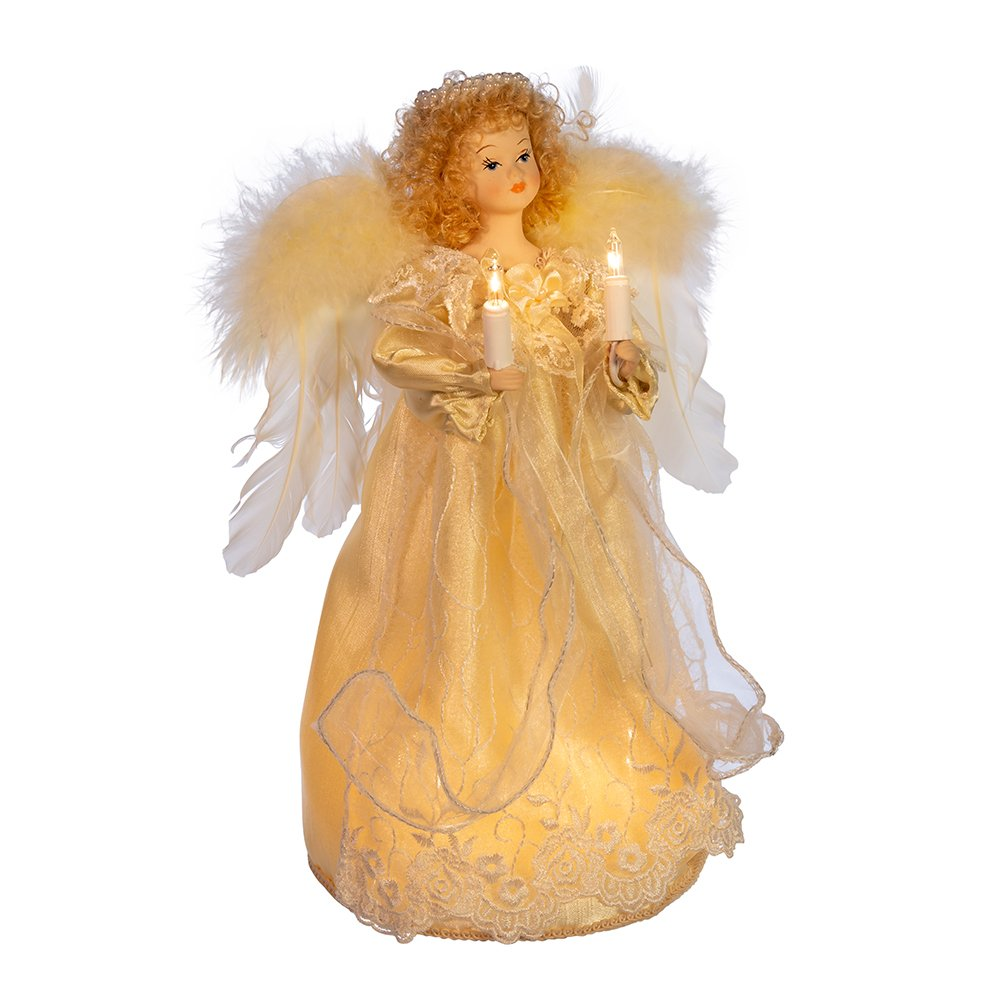 Kurt Adler UL 10-Light Angel Christmas Treetop Figurine with Fabric Hair, 12-Inch, Ivory