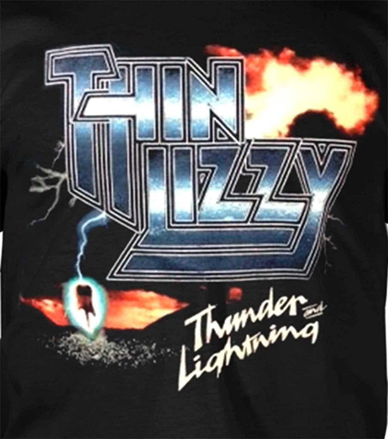 Thin Lizzy T Shirt Thunder and Lightning Band Logo Nouveau Officiel Homme