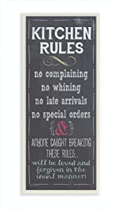 Stupell Home Décor Kitchen Rules Chalkboard Look Kitchen Wall Plaque, 7 x 0.5 x 17, Proudly Made in USA