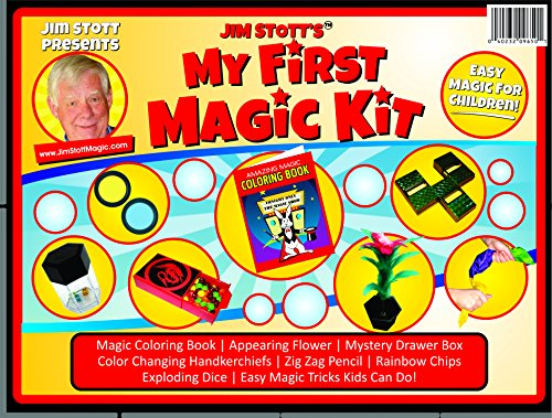 Jim Stott's 'My First Magic Kit' for Kids, Magic Tricks Set for Girls and Boys, Appearing Flower, Magic Coloring Book, Mystery Box, Color Changing Handkerchiefs, Exploding Dice, and More - First Magic Set