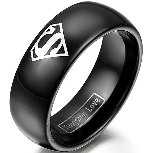 JewelryWe joyería 8 mm colour negro carburo de tungsteno Anillo con Superman ancho caracteres para mujer