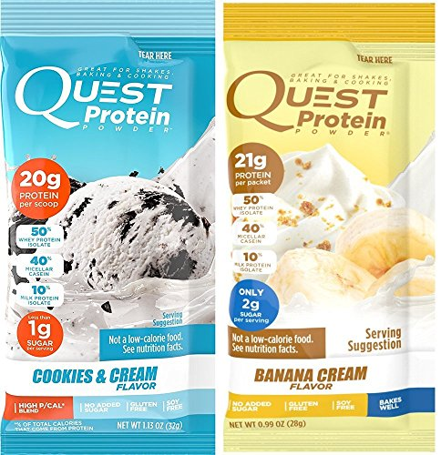 Quest Nutrition Quest Protein dRNHNY Powder, Cookies and Cream/Banana Cream 24 Count (12 of Each) by Quest Nutrition