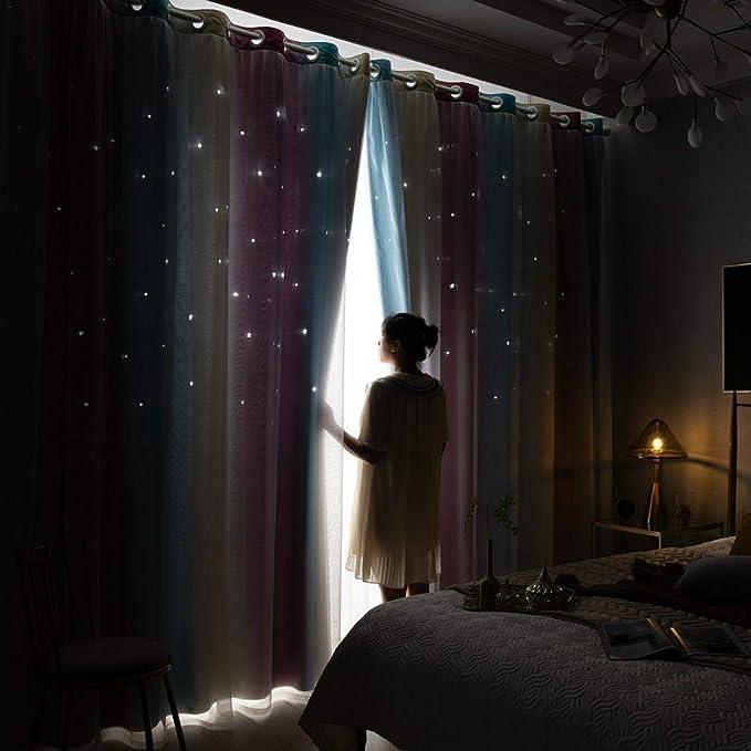 humflour 1 Piezas Cortinas De Gradiente De Estrella Hueca Ni/ños Ni/ña Dormitorio Sala De Estar Cortinas Opacas De Color Doble Capa 100 250cm