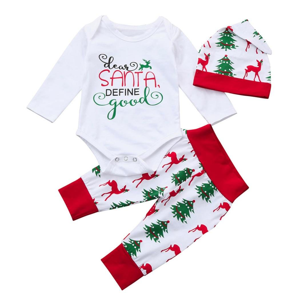 LNGRY Newborn Baby Boy Girl Christmas Outfits Clothes Print Tops+Pant+Cap Set
