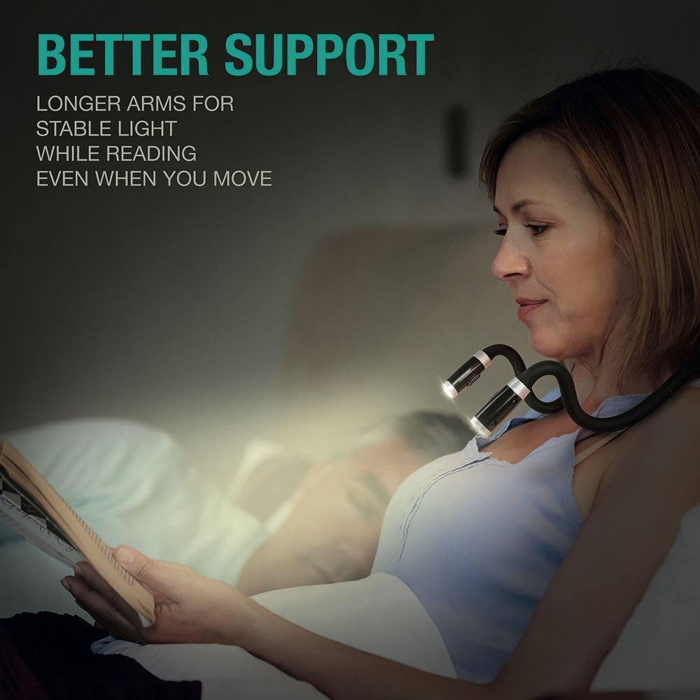 LuminoLite Rechargeable 4 LED Book Light Bright Neck Hug Light, Reading Lights for Reading in Bed, 3 Brightness Levels, 2 Flexible Soft Silicone Arms Comfortable Wear. Perfect for Bookworms & Crafts by LuminoLite (Image #7)