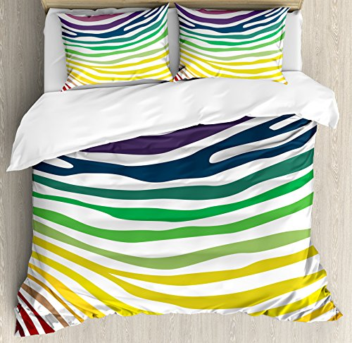 Zebra Print Duvet Cover Set King Size by Ambesonne, Colorful Zebra Stripes Pattern in Cheering Rainbow Color Modern Style Art, Decorative 3 Piece Bedding Set with 2 Pillow Shams, Red Yellow Green