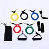 Xemz Resistance Bands Set with Pouch - Anti Snap, Heavy Resistant Tube Band Set Comes with Door Anchor Attachment, Legs Ankle Straps - Weights Exercise, Fitness Workout