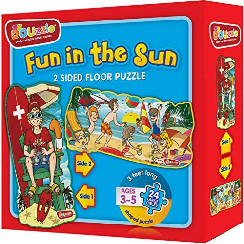Fun in The Sun 2 Sided Floor Puzzles for Kids Ages 3-5 Years (24 Extra Large Pieces, 3 Feet Long) ()