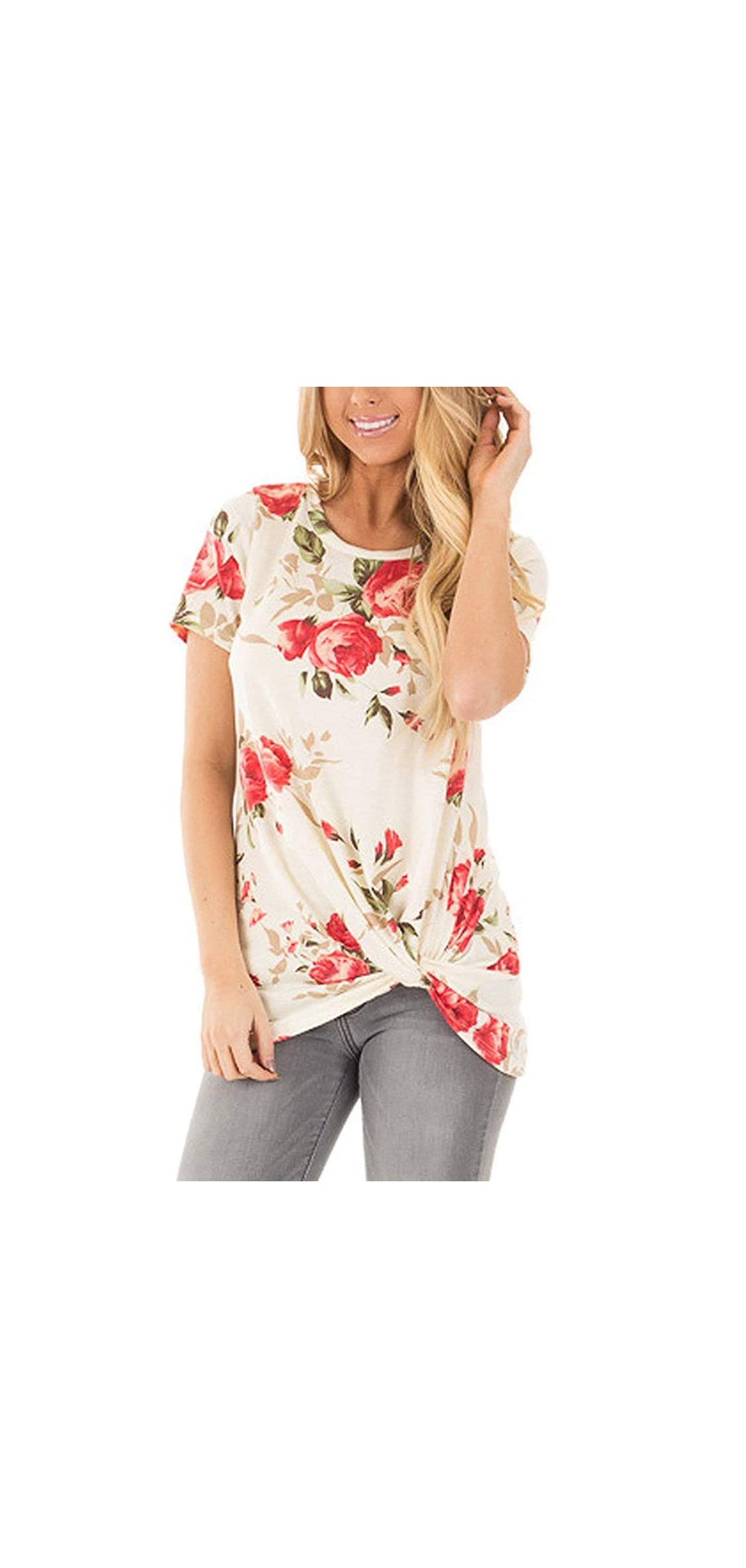 Womans Floral Tops Summer Boat Neck T Shirts Casual Juniors L