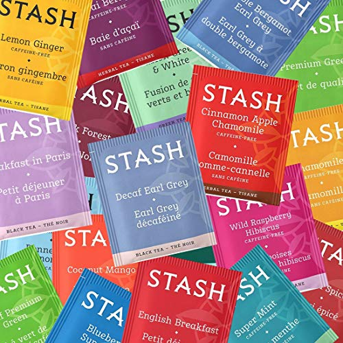 Stash Flavored Tea Bags Variety Random 30 Count Gift Box - Possibly Green Tea, White Tea, Black Tea, Herbal Tea, and Decaf Tea with By The Cup Honey Sticks