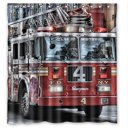 Cool Fire Fighting Truck Waterproof Bathroom Shower Curtain