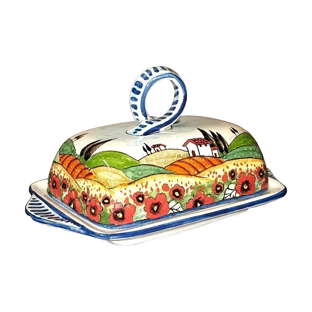 CERAMICHE D'ARTE PARRINI- Italian Ceramic Butter Dish Hand Painted Decorated Poppies Landscape Made in ITALY Tuscan Art Pottery