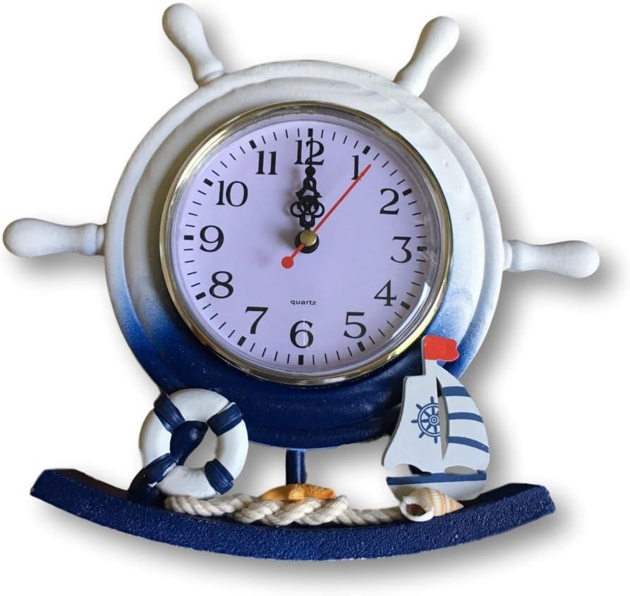 BANBERRY DESIGNS Nautical Clocks - Boat Steering Wheel Clock with Sailboat Accents - Decorative Desktop Clock