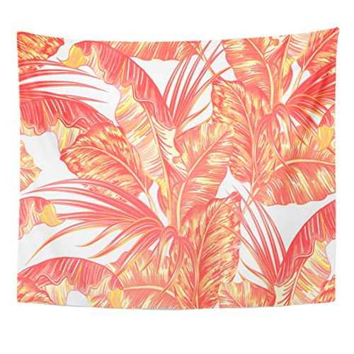 TOMPOP Tapestry Pink Summer Tropical Palm Leaves Jungle Leaf Floral Pattern Natural Vintage Foliage Home Decor Wall Hanging for Living Room Bedroom Dorm 50x60 Inches by TOMPOP