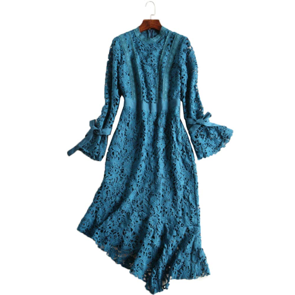 ZENWEN Women's New Slim Waist Long Sleeve Dress European Station Fashion Water Soluble Fishtail Skirt