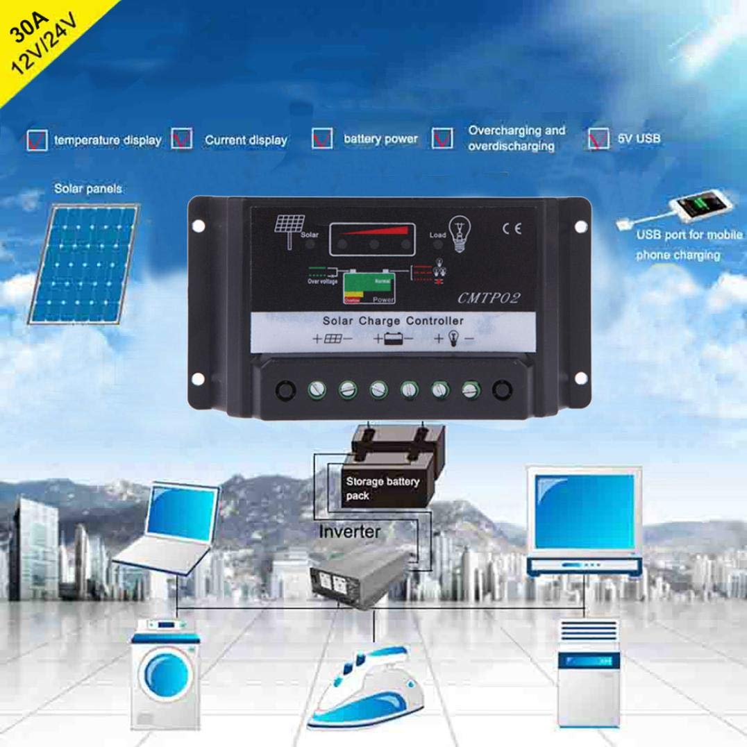 12v 24v Pwm Solar Charge Controller Panel Battery Charger Regulator Safe Protection Intelligent With Dual Usb Port Lcd Display Auto Switch Overcurrent